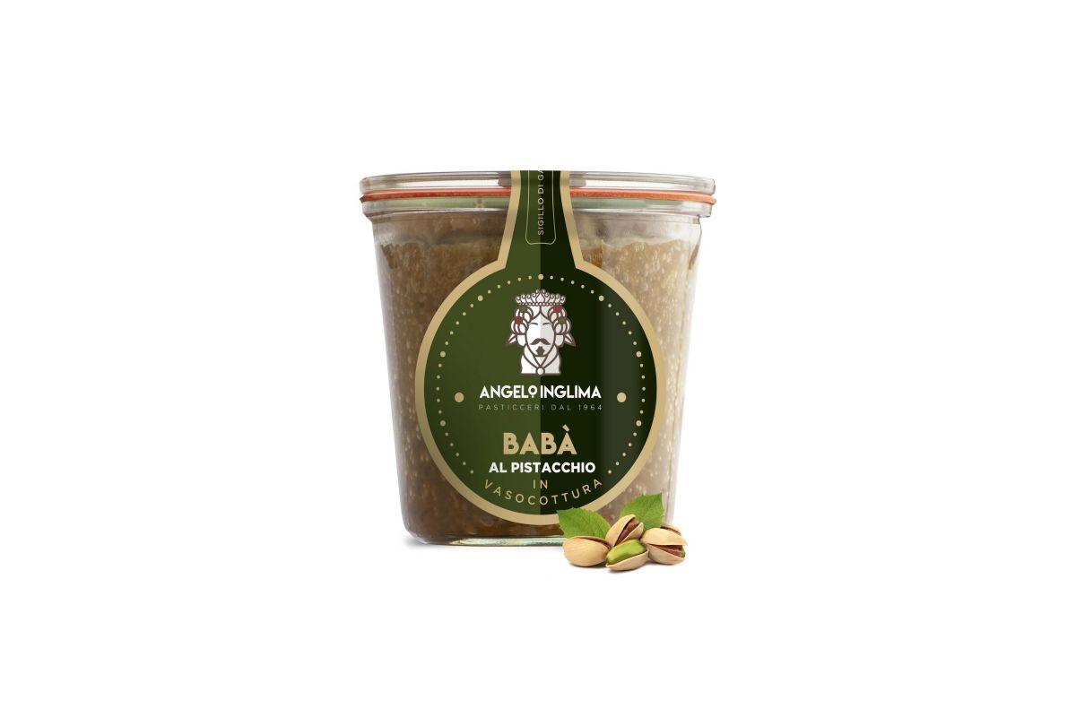 babà al pistacchio in vasocottura pasticceria angelo inglima Sicilia acquisto online